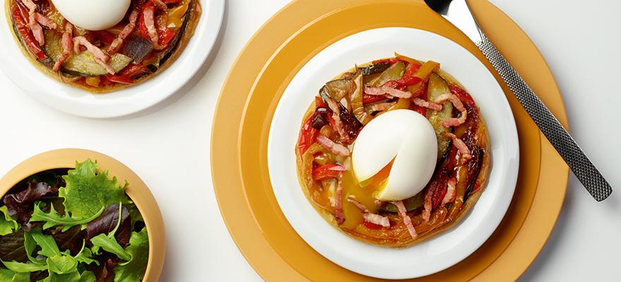 Soft-boiled egg on a vegetable tatin